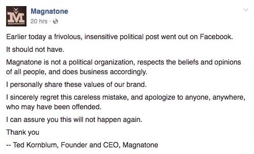 magnatone-apology
