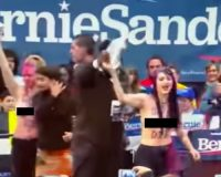 WATCH: Topless Animal Rights Protesters Storm Bernie Campaign Rally In Nevada