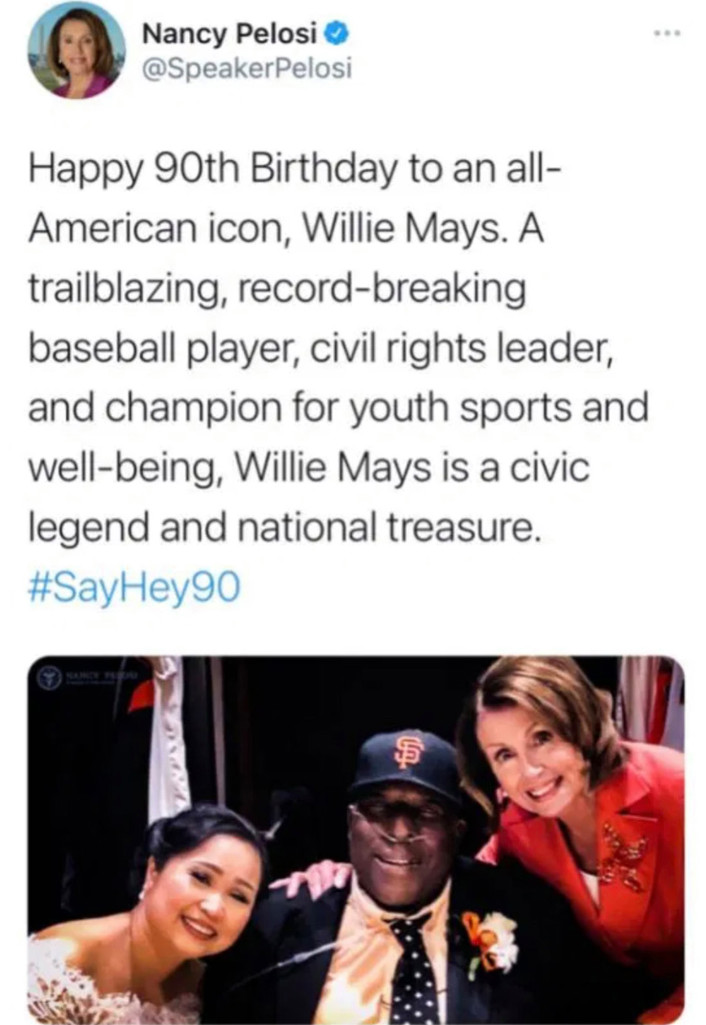 OOPS! Nancy Pelosi Wishes Willie Mays A Happy 90th Birthday But Posts Photo Of Willie McCovey ⋆ Conservative Firing Line