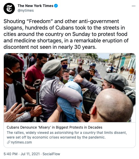 US Flag Spotted In Massive Anti-Government Protests In Cuba — Liberals, New York Times Hardest Hit ⋆ Conservative Firing Line