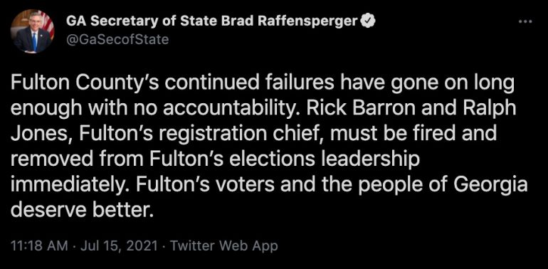 Raffensperger Calls For Fulton County Election Officials To Be Fired … Finally (Video) ⋆ Conservative Firing Line