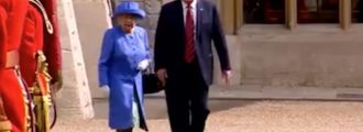 WATCH: Trump Offends Queen & Her Subjects By Walking Ahead Of The Old Lady